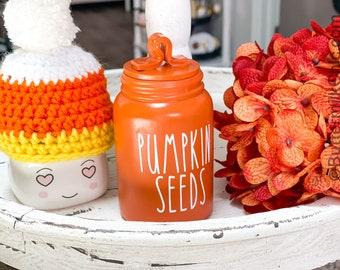 Mini Pumpkin Seeds Jar Mini Decorative Canister. Fall Decor. Farmhouse Decor. Home Decor. Tier Tray Decor. NOT REAL DUNN