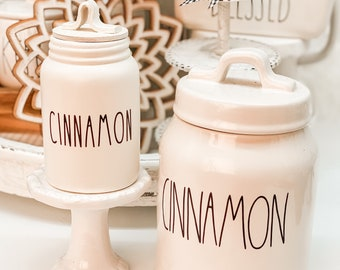 Mini Cinnamon Jar Mini Decorative Canister. Fall Decor. Farmhouse Decor. Home Decor. Tier Tray Decor. NOT REAL DUNN
