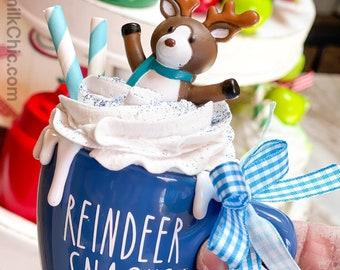 Reindeer Snacks Mini Mug |  Faux Whip Cream Coffee Lover | Tiered Tray Decor | Mini Ceramic  | Christmas Decor | Tier Tray
