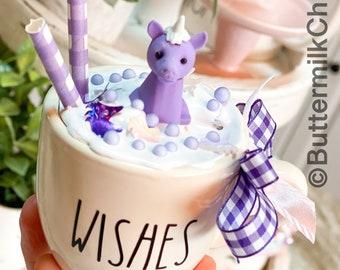 Unicorn Decor Mini Mug   Faux Whip   Ceramic Mini Mug   Tiered Tray Decor   Kitchen Decor   Not Real Rae Dunn