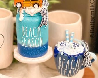 Beach Season Mini Decorative Canister OR mini Mug. CHOICE Farmhouse Decor. Buffalo Check Gingham. Home Decor. Shabby Chic. Tier Tray Decor