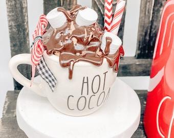 Hot Cocoa Mug AND Faux Top | Mini Espresso Mug Faux Whip Cream Coffee Lover | Tiered Tray Decor |Mini Ceramic Mug