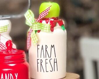 Mini Farm Freah Jar Mini Decorative Canister. Fall Decor. Farmhouse Decor. Home Decor. Tier Tray Decor. NOT REAL DUNN apple decor