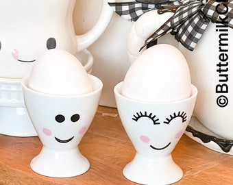 Set of 2 Ceramic Egg Cups   Marshmallow Mug Faces   Tray Decor   Farmhouse Kitchen   Not Real Rae Dunn