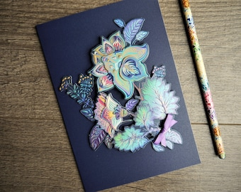 Indigo blue 3D/decoupage/holographic/glamorous/luxury floral card -  Mother's Day card - Birthday card - Anniversary card