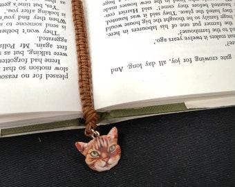 MACRAME BOOKMARK/ book lover/ bookworm/ gift/ bookmark glass charm/ catlover / lotus charm / zen