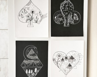 PRINTS - SET OF 4 drawings of botanical playing cards suits 5 x 7'' /nature plants flowers / black and white / hearts diamond spade club