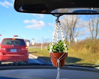 MINI MACRAME hanger for rearview mirror with pot and plant / car plant macrame / car charm, pendant / small accessory for cubicle, office