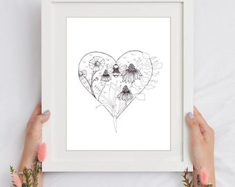 UNFRAMED PRINTS of Botanical Art Drawings of Playing Cards Suits / Black and White / Plants / Hearts Diamonds Spades Clubs / 5x7 / 8.5x11