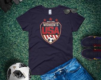 51bdf4304a7 Soccer Life    Women s USA Shield Short Sleeve T-shirt for Soccer Mom
