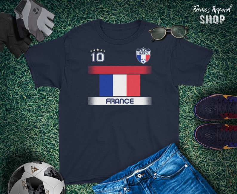 fc8e9771a7d Youth Size France Soccer Jersey with Flag   French Soccer