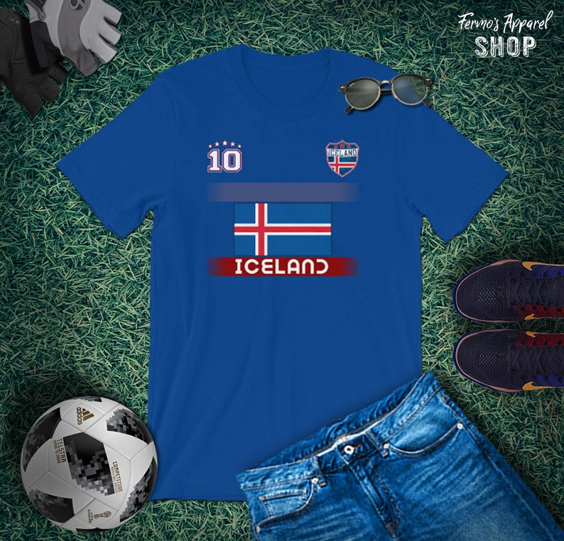 pretty nice 4667c 71edc Iceland Soccer Jersey with Flag / Original National Soccer Logo fan-made /  Soccer Shirt number 10 / Iceland Support World Cup Russia 2018