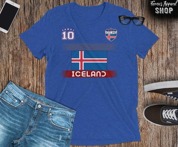 Island Damen T-Shirt ST-1 Navy Trikot Team Fußball Sport WM 2018