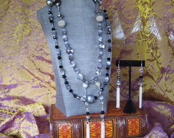 Bewitched Samantha black and grey lariat necklace and earring set