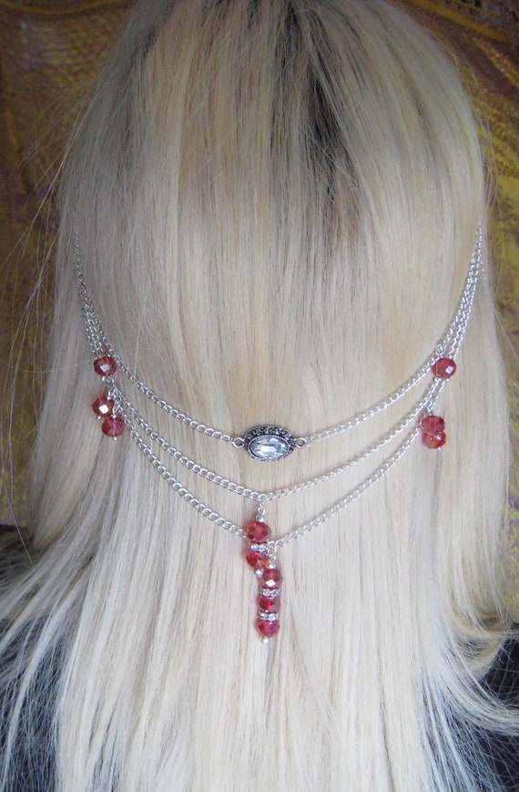 Blood Of Moldara Silver And Red Hair Chain Etsy