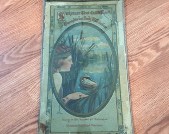 "Antique 1919 ""Scripture Text Calendar""  Moses in the Basket of Bulrushes (  in Plastic Sleeve)"
