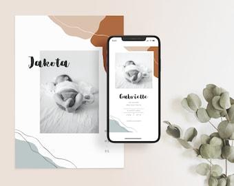 Boho birth Announcement Template, Printable Photo Birth Announcement Card, CANVA Template Instant download | TERRACOTTA