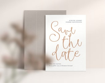Modern Minimal Save the Date Editable Template, Printable Save The Date, DIY Date Announcement CANVA, Instant Download | TERRAZZO