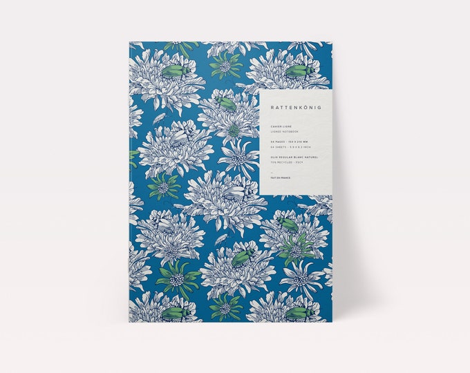 A5 lined notebook printed with vegetable ink