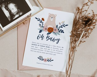 Birth announcement card, New baby card template, Virtual baby Shower invitation Instant download | BEAR