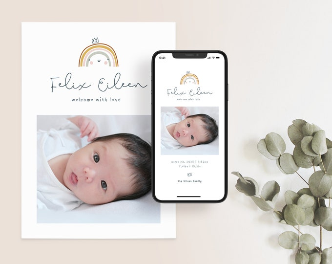 Featured listing image: Birth Announcement Template, Printable Photo Birth Announcement Card, CANVA Template Instant download   RAINBOW