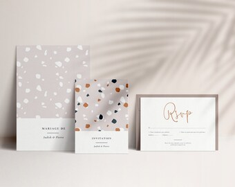 Wedding Invitation Template Set, Fully Editable, Instant Download, Minimalist and Modern Printable | TERRAZZO