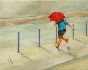 Rain, runners in the rain with umbrella movement, dynamics, loneliness, summer rain, thunderstorm, rainstorm