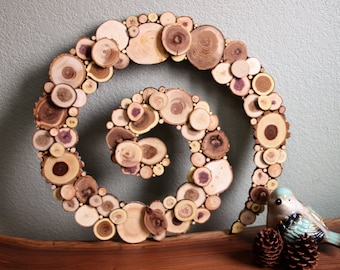 Wood Wall Art - Spiral - Real Pine, Elm, Cedar & Ash Wood Slices
