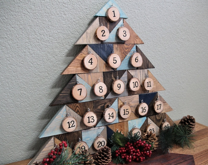 Advent Calendar  - Reclaimed Wood and Wood Slices - Blue/Gray Wood Tones - Christmas Countdown Calendar