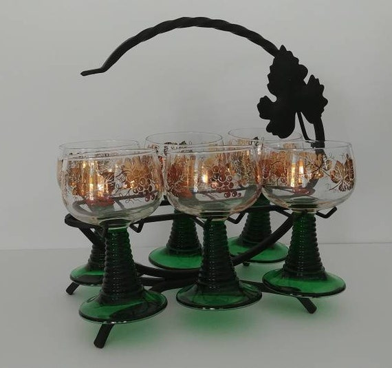 Rhine Wine Roemer Glasses with Stand