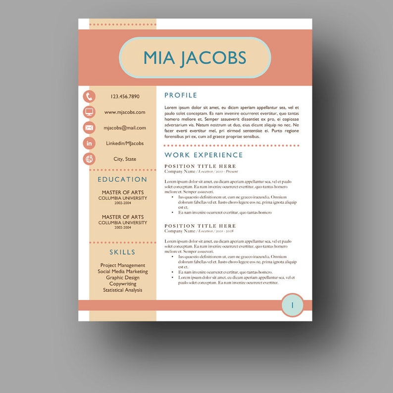 Totally Unique Resume Template | Stand Out Resume | Two Page | Cover Letter  | Use with Microsoft Word