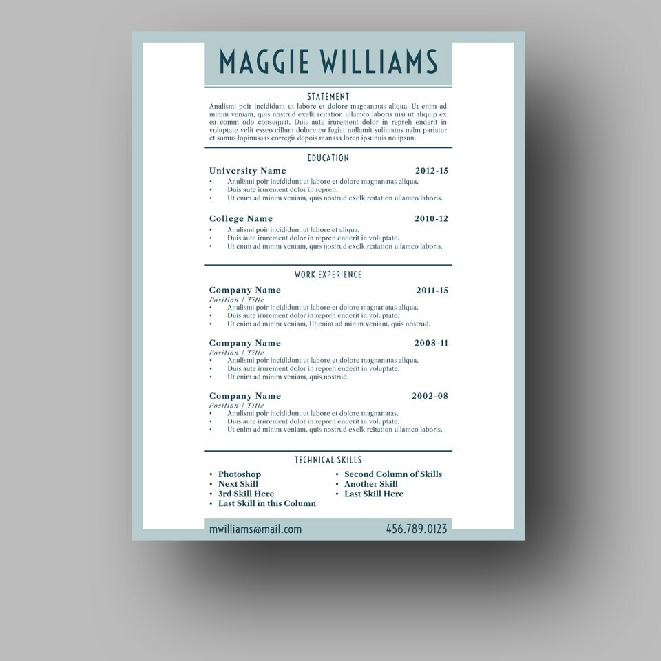 Resume Template Two Page Cover Letter Use With Microsoft