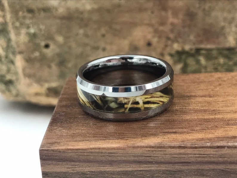 Silver CAMO Tungsten Carbide Ring with Rustic Wooden Ring Box \u2022 Men/'s 8mm Wedding Band \u2022 Rustic Wooden Ring Box \u2022 Hand Etched SKU; 637CM