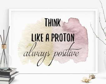 Printable positive quote. 11x8 sign, think positive. Inspirational art, quote, inspire, motivate, watercolour, download