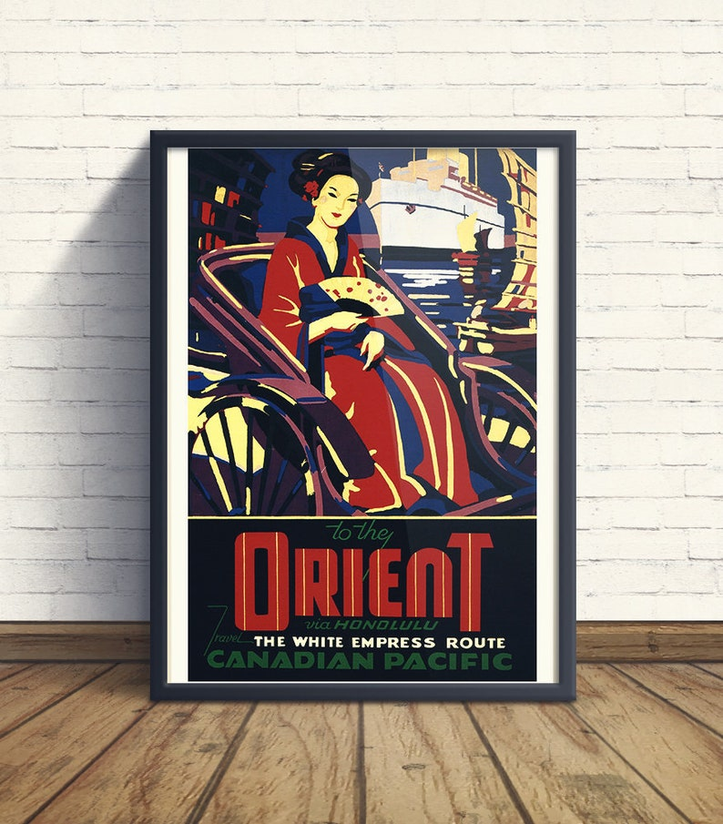 Fastest to the ORIENT vintage Travel Poster CANADA 1930 24X36 Boat Cruise