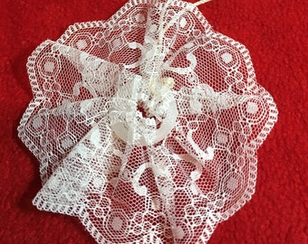Lace Christmas Ornament - Ribbon Lace - Handmade