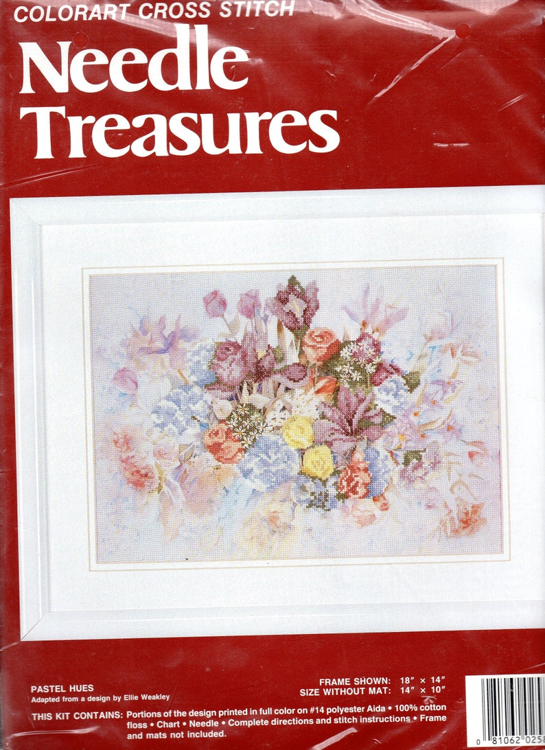 Vintage Needle Treasures Pastel Hues Colorart Counted Cross Stitch Embroidery Kit 18 x 14/'  Complete Kit