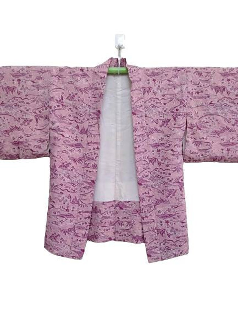 FREE SHIPPING! Vintage Kimono Haori Japanese Traditional Floral Motif Nice design