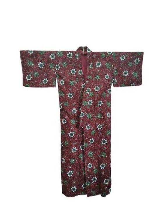 MEGA SALE ! Vintage 60s Japanese Yukata Silk Kimono Patchwork Flower Motif Japanese Traditional Wear