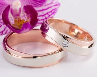 bicolor wedding ring,white rose gold wedding bands,rose gold rings for women,wave wedding band,diamond wedding ring,diamond rosegold ring
