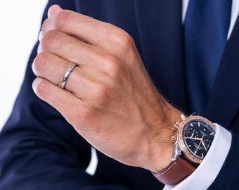 Bubble Wedding Ring for Men, Men's Solid 14k Gold Ring, Bicolor Gold Band for Men