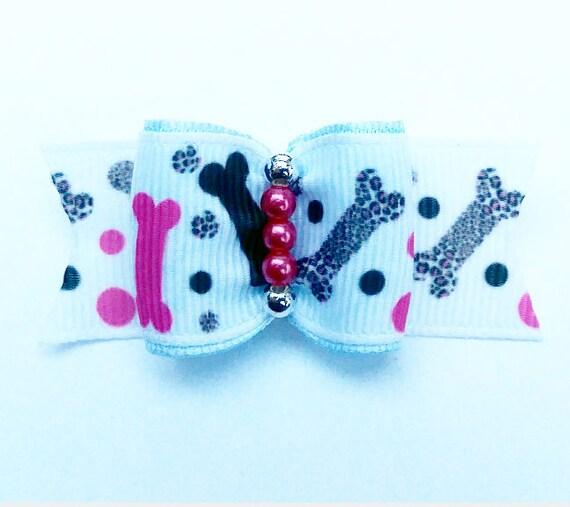 *dog bone design DINAS CLOUD unique dog bow pet hair accessories,dog hair accessories,puppy hair clips Dog hair bow