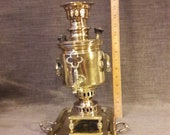 A genuine rare, small size, antique, Russian brass samovar and tray.