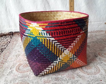 Hand made soft basket bowl woven of plant material