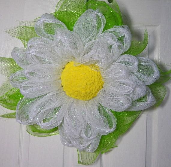 White daisy wreath daisy wreath front door wreath deco mesh etsy image 0 mightylinksfo