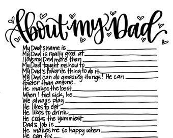 About My Dad - Father's Day Activity Printable Kid Gift
