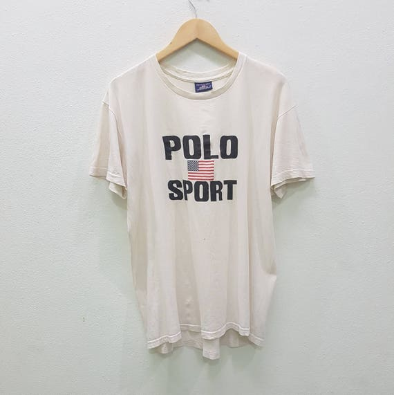 Vintage Polo Sport Ralph Lauren Flag Big Logo T Shirts Made In Etsy