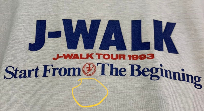Vintage 90s J-WALK TOUR 1993 Start From The Beginning Japanese Rock Band T-shirts