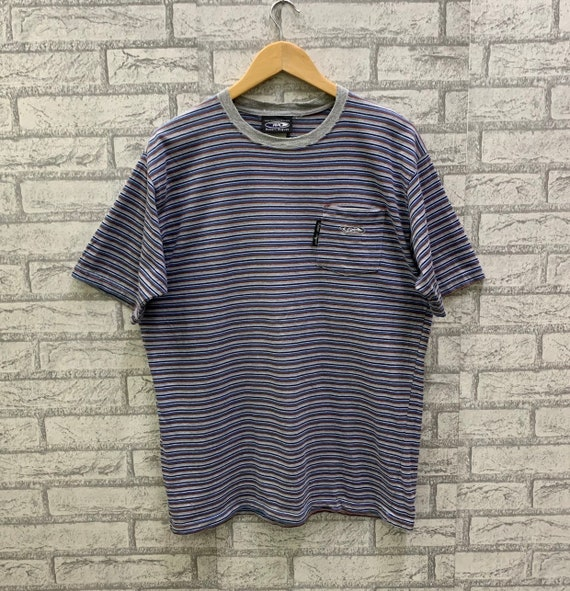 Vintage Robert August RA Surfboards Striped Style Single Pocket T-shirts
