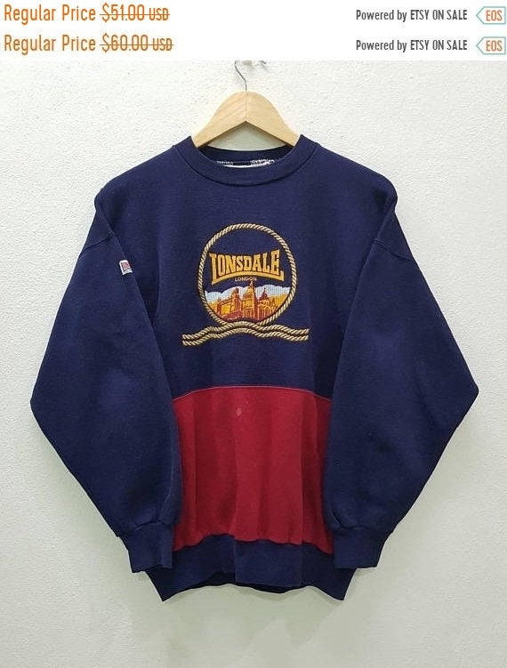 RARE!!! Vintage Lonsdale London pulls gros Logo joli Design de broderie Made In England